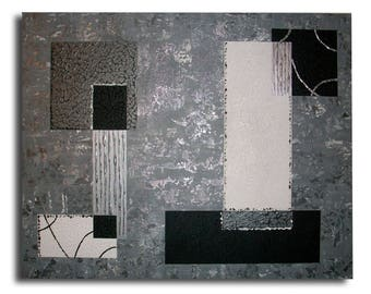 Black silver white modern art abstract canvas painting