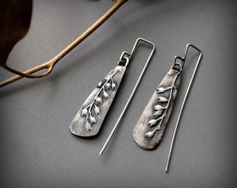 sterling silver botanical earrings wildflowers modern rustic artisan earrings