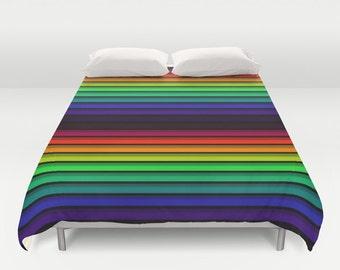 Psychedelic Duvet Cover, Duvet Cover, Festival Bedding, Rainbow Bedding, Bedding, Festival blanket, Blankets, 3 Sizes