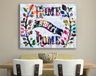 Home sweet home print, home sweet home wall art, wedding gift, bohemian decor, mixed media collage art, Engagement gift