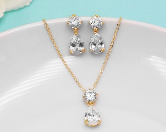 Gold Wedding Jewelry Set, Dainty Pear cubic zirconia CZ jewelry,gold crystal wedding necklace set, cubic zirconia, Rayna Gold Jewelry Set