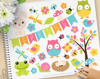 Spring Critters Clipart, Easter, whimsical, forest animal, woodland, Owls, frogs, butterfly, Commercial Use, Vector clip art, SVG Cut Files