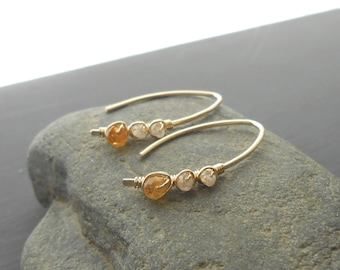 Citrine Zircon Gold Earrings, Gold Filled Open Hoop Wire Wrapped Gemstone Earrings