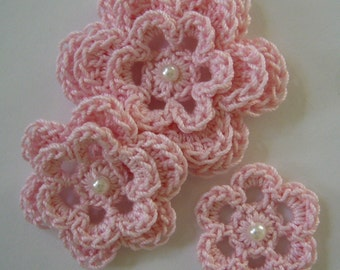 Crocheted Flowers - Pink With a Pearl - Cotton Flowers - Crocheted Flower Appliques - Crocheted FlowerEmbellishments