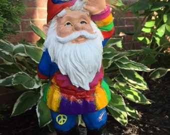 Dead Head Garden Gnomes; 11 inch high Grateful Dead Yard Ornaments, Deadhead Outdoor Statues, Grateful Dead Lawn Decor