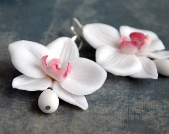 orchid flower earrings, white orchid flowers, white orchid earrings, orchid flowers, earrings, drop earrings,flower drop earrings