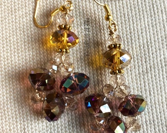 Olive and Copper Crystal shimmer earrings
