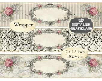 digitale Frames Wrapper printable Soap Packaging Wraps Ornaments editable blank Labels Instant Download digital collage sheet E043