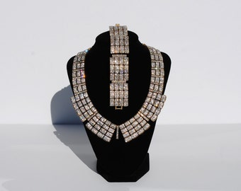 Art Deco Rhinestone Necklace and Bracelet