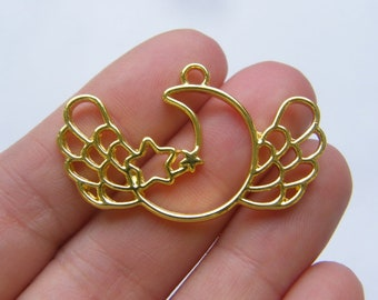 2 Moon with wings charms gold tone GC475