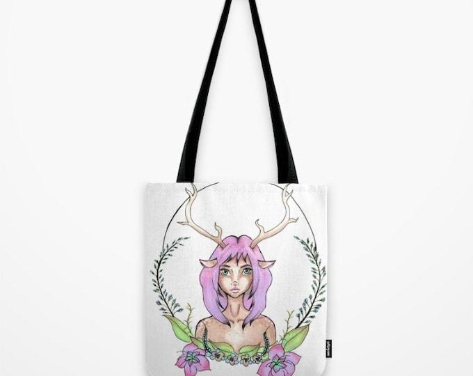 Deer Girl Tote Bag - Fantasy Art - Beach Bag - Grocery Bag - Original Hand Drawn Art - Made to Order