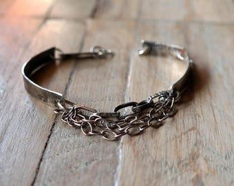 Unique Modern Bracelet, Sterling Silver Bracelet, Raw Silver, handmade sterling silver bracelet,