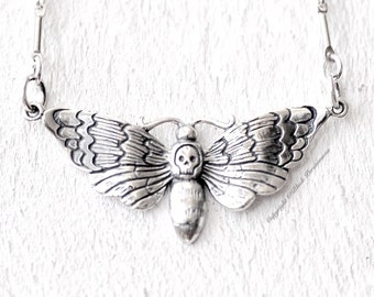 Deaths Head Moth Necklace - Solid 925  Sterling Silver Halloween Skully Pendant - Insurance Included