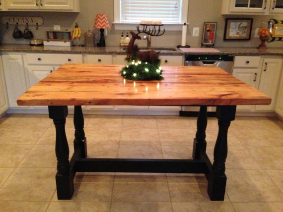 Harvest Style Kitchen Island From Reclaimed Hardwood With