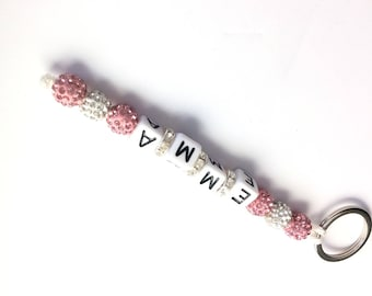 Key chain rhinestone jewel personalized Pink White