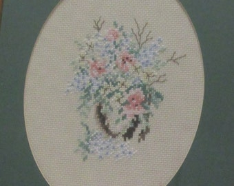 Framed Cross Stitch Floral Vintage Complete Embroidery Crosstitched Flowers Pastel Wildflower Jade Peach Pink Large Oval Wood Frame
