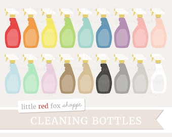 Cleaning Bottle Clipart, Cleaning Spray Clip Art Clean Kitchen Bath Window Glass Cleaner Cute Digital Graphic Design Small Commercial Use