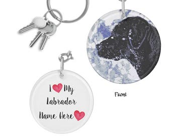 Black Lab Keychain - Black Lab Art ARCL8 - Labrador Keychain - Black Lab Gifts - Personalized Keychain - Black Labrador Memorial Keychain
