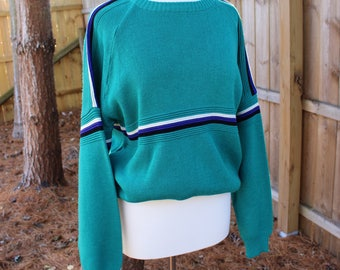 Vintage 80s Van Cort Teal And Blue Striped Color Block Slouchy Crewneck Sweater
