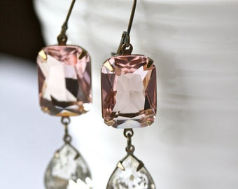 Blush Earrings, Swarovski Crystal Earrings, Pink Earrings, Estate Style Earrings