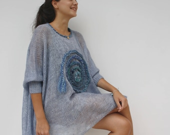 Hand Knitted Denim Blue Loose Knit Swater / Oversized Blue Poncho / Knitted Long-Sleeved Blouse / Handknit Wool Pullovers / Under USD 200