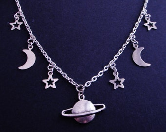 saturn space necklace - planet necklace - pastel goth - kawaii - grunge jewelry