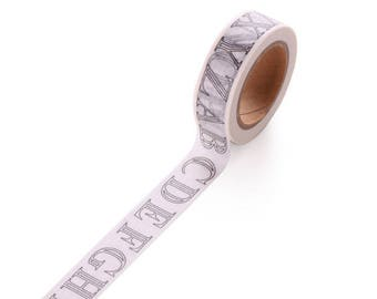 Washi tape alphabet coloring - Washi tape black and white letters