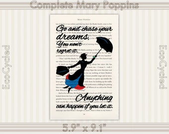 Mary Poppins Chase Your Dreams Anything Can Happen If You Let It Quote Vintage Upcycled Dictionary Art Print Book Art Print book lover gift