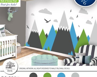 Tea Green Ice blue Mountain Wall Decal for Nursery,Kid room.High quality removable sticker  eagles, pine trees, clouds. Adventure decal d576