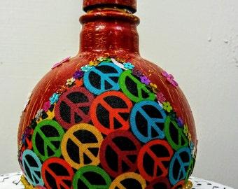 Upscaled Glass Liquor Bottle. Peace!