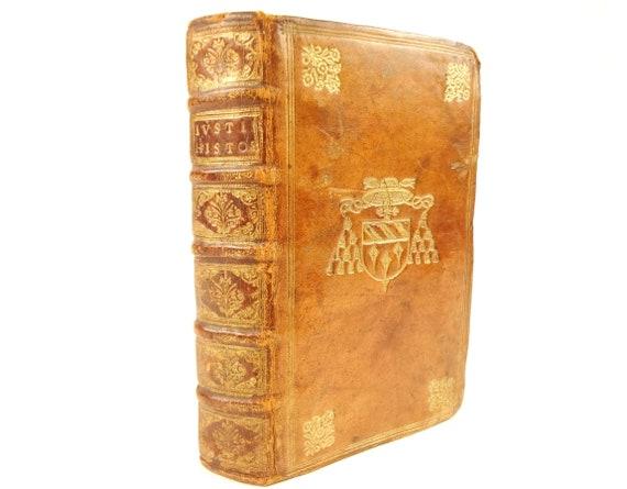 1581 Justinus (Justin), Trogi Pompeii. Notes by Jacques Bongars. 17th century prize binding.