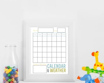 Learning Calendar and Weather Chart for Kids, Printable, Teaching
