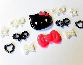 Kawaii Cabochon Mix, Deco Decoden DIY Supplies, Kitty Cat Cabochon, Bow Cabochons