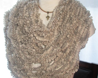 Beige Low Hang Knit Infinity Scarf