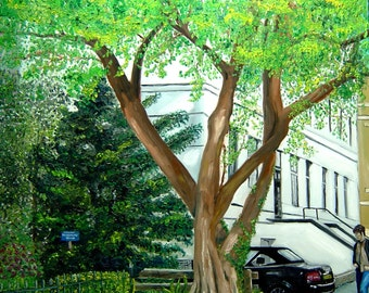 Tree Painting - Dutch Park Painting - Original Oil Painting - Dutch Painting - Dutch Tree Painting - Netherlands Tree Oil Painting