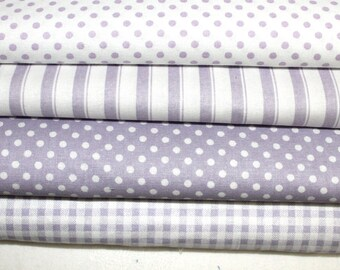 Lilac and White Fat Quarter Bundle Light Purple and White Stash Builder Blender
