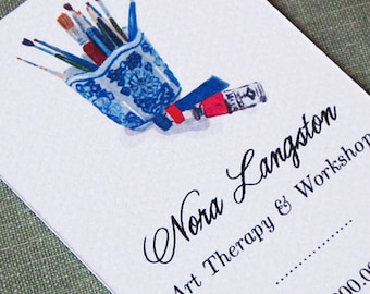 Chinoiserie Blue and White Vase Artist's Brushes and Paints Business Card, Set of 50