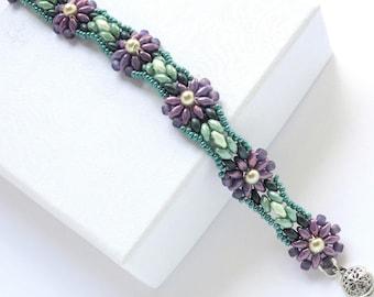 Beaded Bracelet Seed Bead Floral Friendship Bracelet Women's Gift for Her Flower Bracelet Fall Fashion Jewelry Handmade Women's Gift for Her
