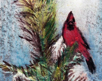 original art  aceo drawing red cardinal pine tree snow winter