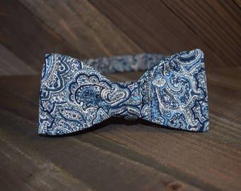 Blue Paisley Self Tie Bow Tie