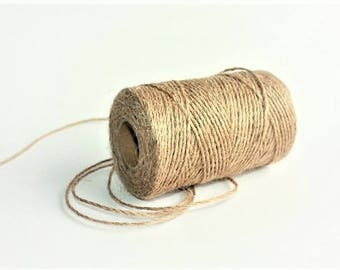 2 mm Jute Cord Natural = 1 spool = 77 yards = 70 meters