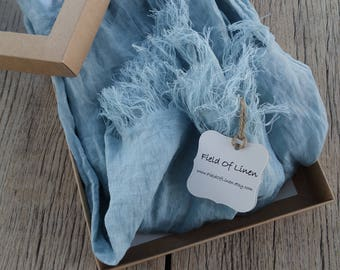 Long blue light blue linen scarf, softened linen scarf, long linen scarf, linen scarf for women, 200 cm scarf, linen shawl in gift box