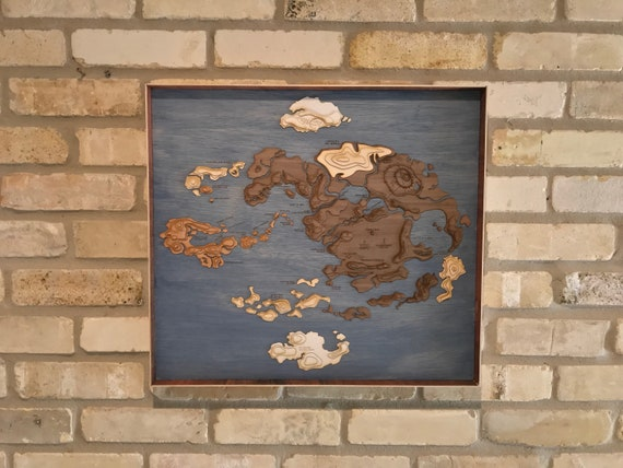 Avatar the Last Airbender Laser Cut Topographic Map of the