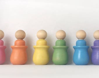 Montessori color matching toy, peg doll and cup, Waldorf toy, Reggio Emilia, rainbow matching toy, pastel matching toy, sensory toy