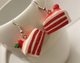 Red velvet cake earrings dangle and drop miniature food cake lover accessories kawaii