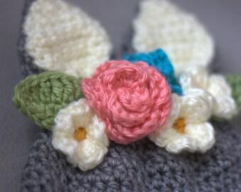 INSTANT DOWNLOAD-Crochet Floral Bunny Hat Pattern
