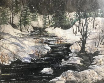Original Black & White, Green and Gold, Suminagashi Image painting,Stream,Snow, Evergreens, Bare Tree's, Nighttime by Janet Dosenberry