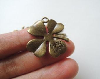 12pcs  27mm Antique Bronze  four leaf clover charm  (A437)