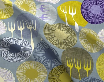 Forks Fabric - Fantastic Farm Fresh Fungi By Spellstone- Green Blue Gray Mid Century Modern Decor Cotton Fabric By The Yard With Spoonflower