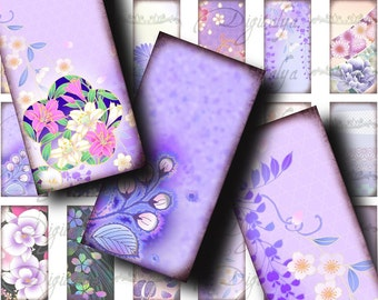 Japanese Design Purple (1) Dominos 1x2 inch or bamboo size available - Digital Collage Sheet - Buy 3 Get 1 Extra Free